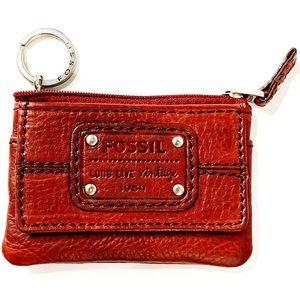 FOSSIL vntg burgundy leather mini wallet